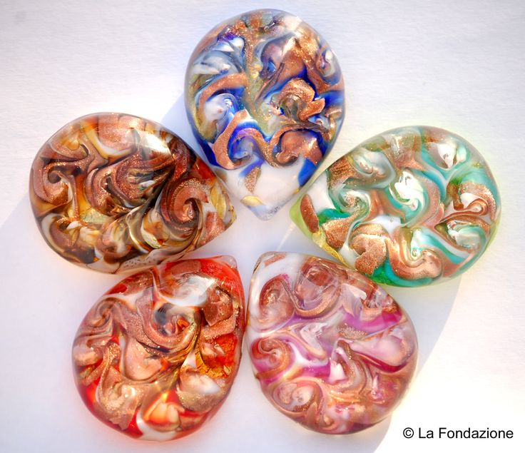 Goccia piena Vortice! Murano Glass pendant withy Gold leaf