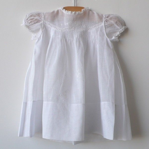 front view ❣ Precious c. 1930 beautiful white organdy dress with delicate pin tucks, embroidery + lace. pleat detail + 3 buttons in back. label reads Yolande Hand Made