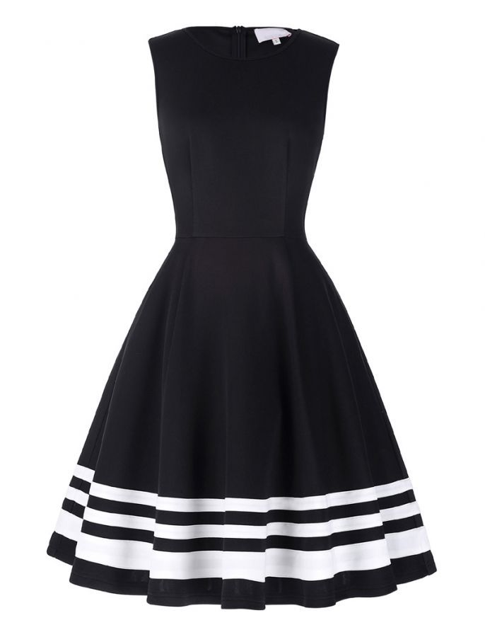 1950s Vintage Style Head Over Heels Black And White Striped Dress