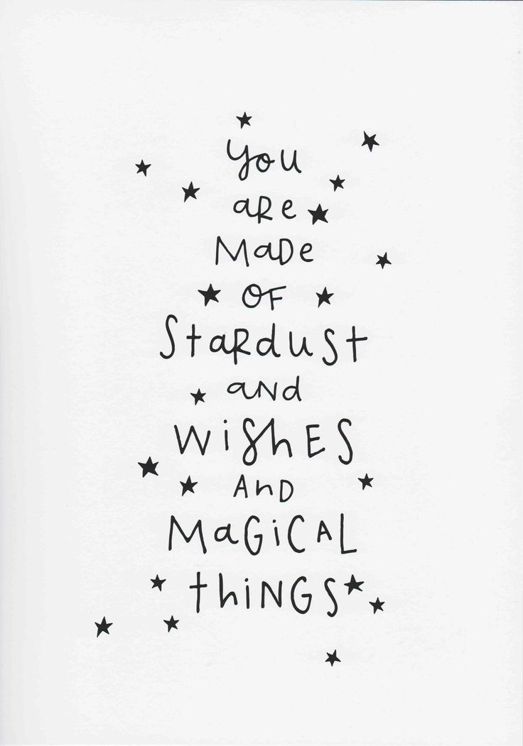 Monochrome Nursery Print, You Are Made Of Stardust and Wishes and Magical Things, Natalie Rodrigues Quote, Kids Room Wall Art, Unframedgaby davila