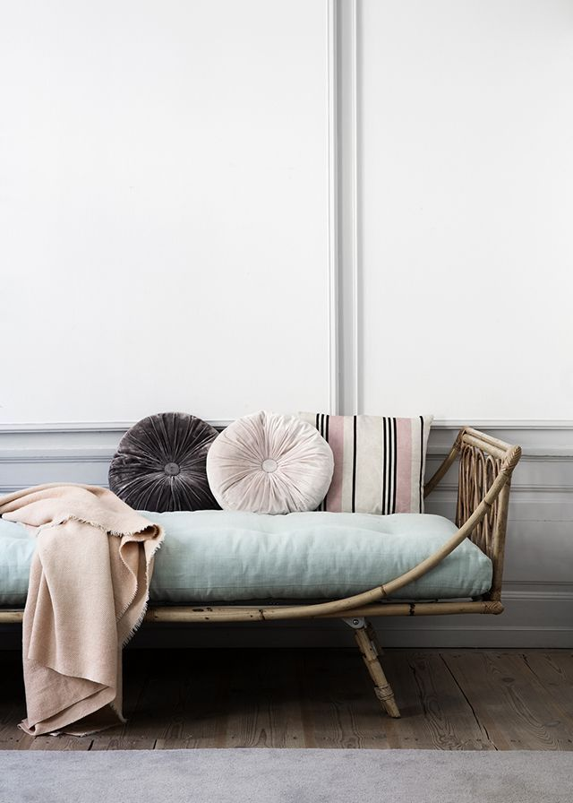 mint and pale pink | Vintage rattan daybed | elegant wall panelling