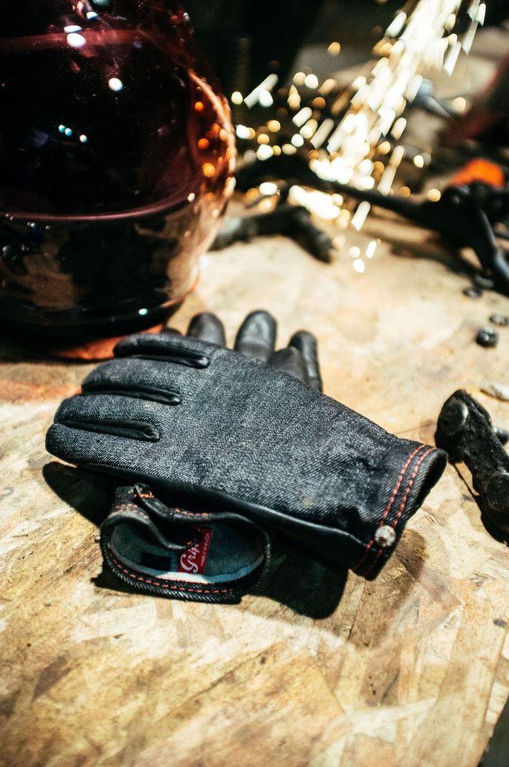 Onyx Ranger Wool Lined Glove, mixes American Mills Cone Selvedge Black Denim and Black Deer Skin.