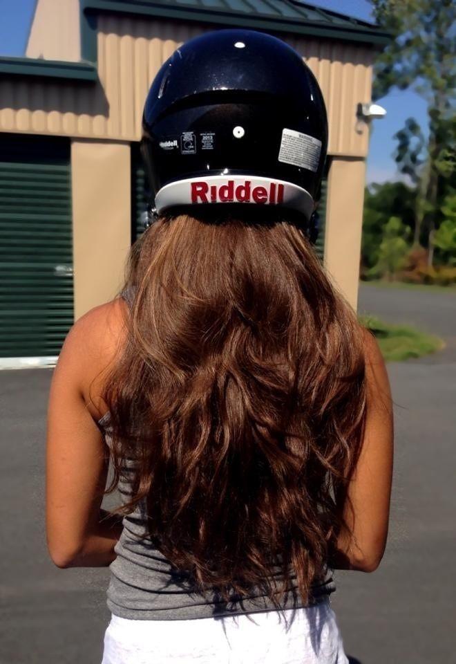 Karlie at helmet fitting. #6 QB
