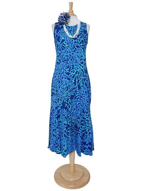5e3f22dc4d729 Anuenue Coral Seahorse Navy Rayon Hawaiian Long Dress