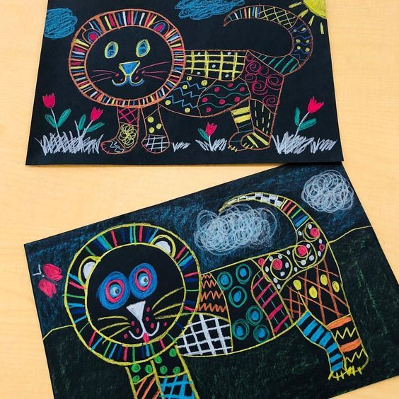 1st Grade Line Pattern Lions. Crayola Color Sticks on black construction paper. … – ViBix