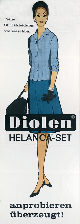 Illustration by René Gruau (1909-2004), 1962, Diolen Helanca-Set.
