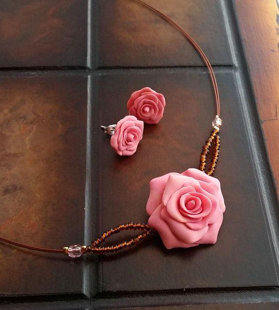 Elegant Rose Jewelry Set  Salmon Pink Flower by EvasCreationsShop