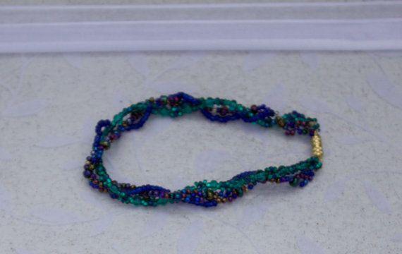 Dark Green Purple and Blue Beaded Bracelet by KateMaderDecor