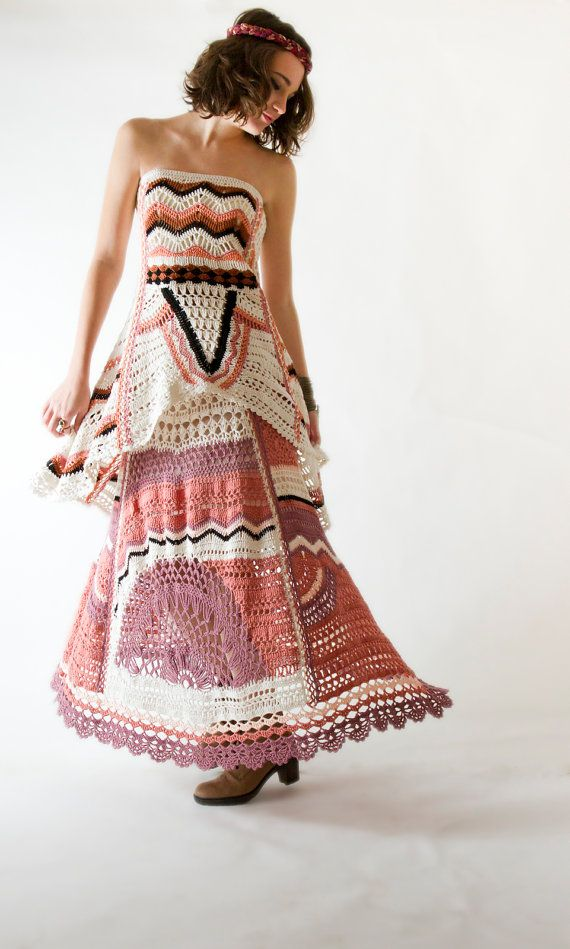 Freeform crochet halter top and skirt