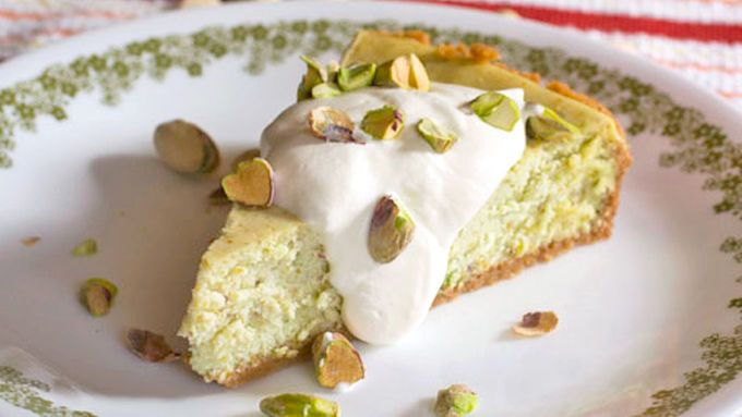 A wonderful homemade cheesecake with ground pistachios baked right in!