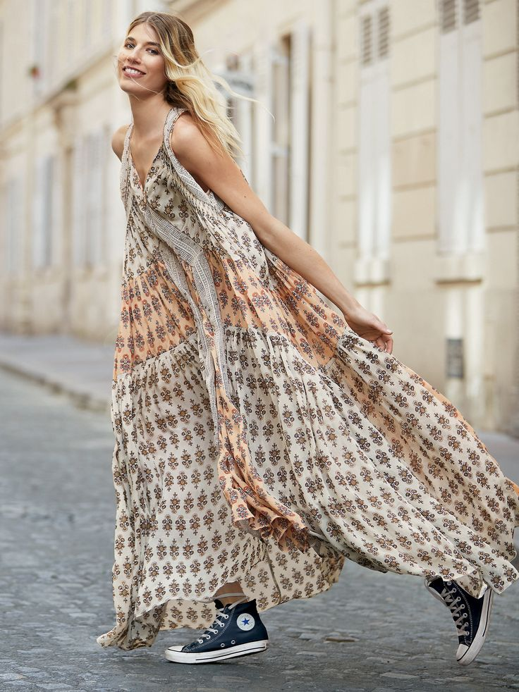 We Broke Free Maxi Dress | Easy and effortless printed maxi dress featured in an oversized and flowy silhouette.  * Pieced with crochet detailing with beaded accents * Sheer chiffon fabric * V-neckline * Lined with a half-slip