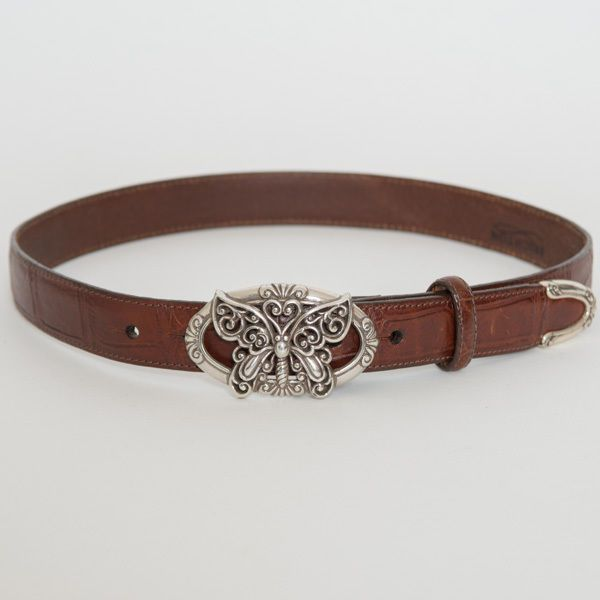 brighton brown leather belt w silver butterfly buckle