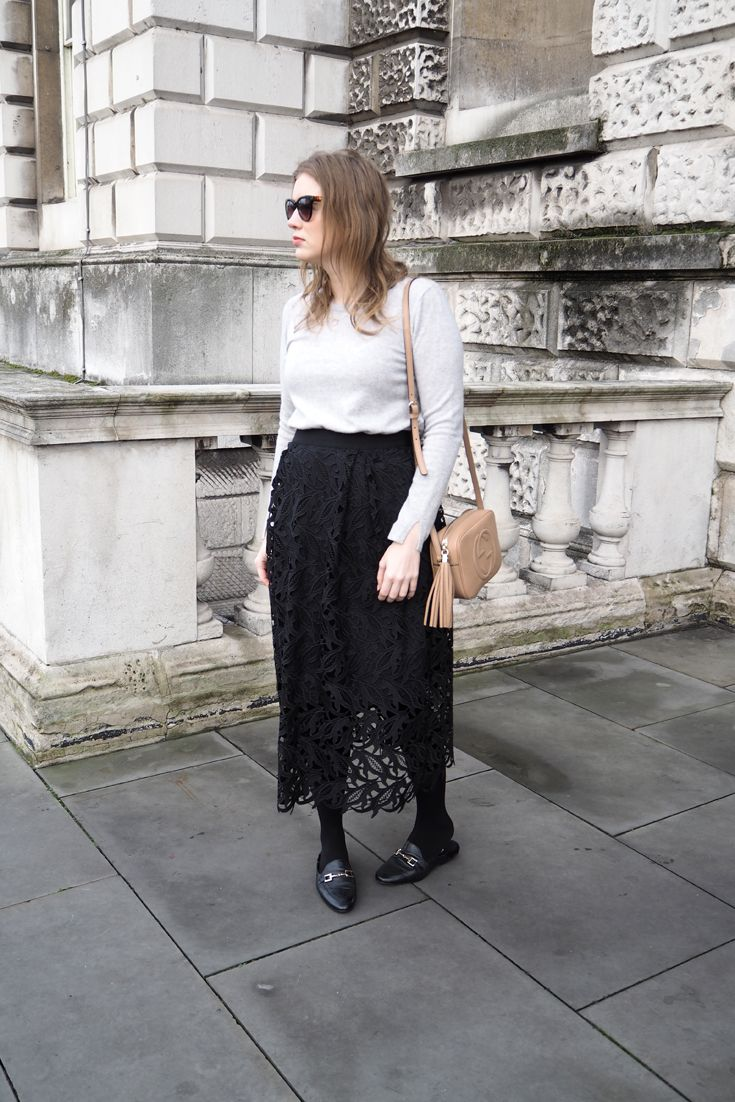 Fall / Winter Outfit with a touch of Spring in London - wearing a Reiss light gray coat, Hallhuber dress, Gucci Disco Soho Bag and Office Mules, how to wear mule flats, gucci mules, gucci flats, gucci loafers, gucci inspired mules, gucci inspired loafers,