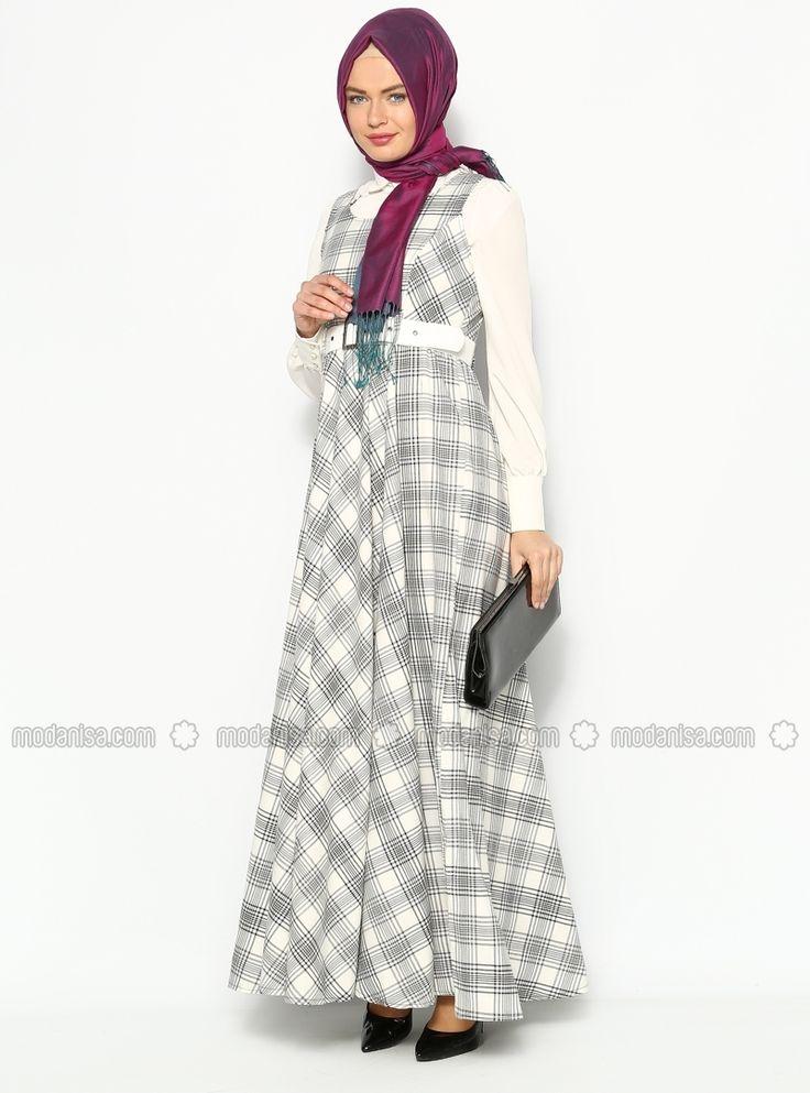 Ekoseli Jile Elbise - Gri - Sultan- ı Yegah