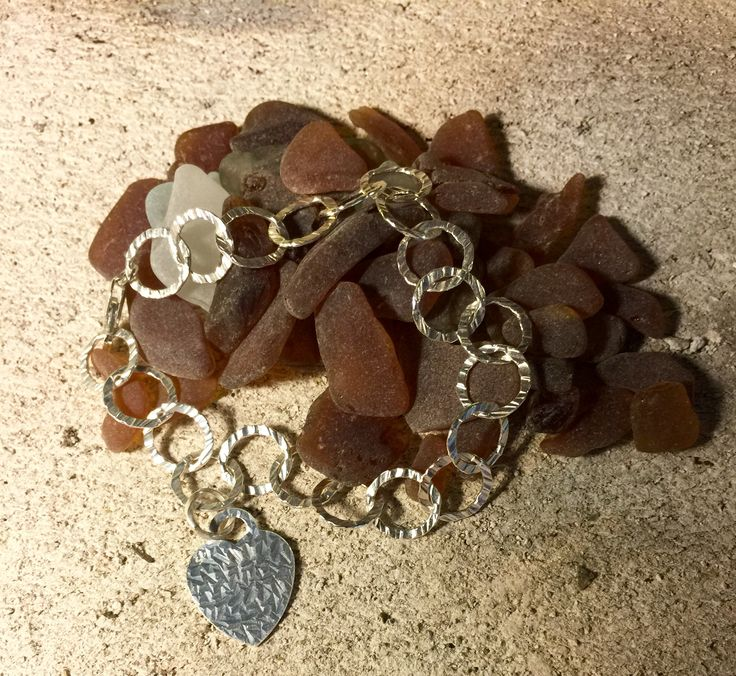 Sterling Silver bracelet with matching hammered heart.