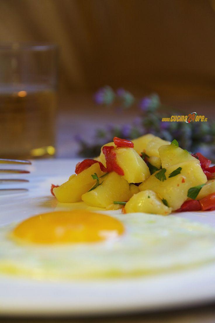 Ricetta Patate al Microonde Con Peperoni Arrostiti e Prezzemolo - Contorno Light,Contorno,Vegetariana