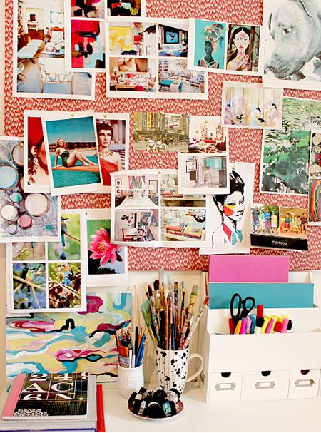 Spruce up your dorm with a DYI patterned inspiration board! Here's how:  Get a piece of cardboard and your favorite patterned paper or cloth and drizzle glue on one side of your cardboard. Lay the cloth/paper on the cardboard and wait for the glue to dry. Next, pin up some pictures, inspirational quotes, maybe a calender, and use command strips to stick it on the wall! And... voila!