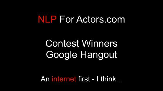 Our first NLP based google hangout - we went on and did a 3 person goal setting session - awesome. Stay posted...