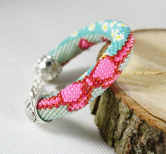 Bead crochet rope Bracelet Beaded Bracelet by SzkatulkaAmiJewelry