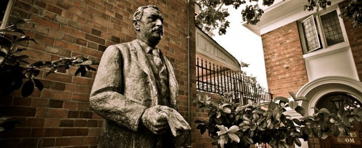 Statue of Cecil John Rhodes at the Kimberley Club, South Africa