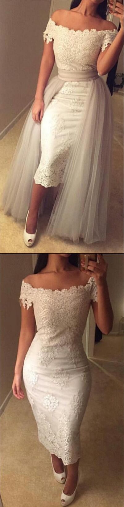 prom dress 2017,white prom dress,detachable prom dress,lace appliques prom dress,tulle over skirt prom dress,sexy evening gowns,off the shoulder prom dress