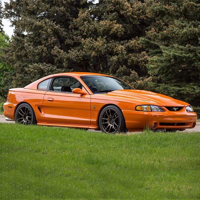 @richlyorange has a very unique build for his 94 #Mustang.  This has a 4.2 V6 (from an 98 F150) with a M112 Supercharged from a Cobra.  Oh and get this, this car was a donor car  for another GT before Richard turned it into this beautiful #orange coupe. ---> @richlyorange (he also takes great photos too!) ______________________________ Follow @cjponyparts for everything Mustang!
