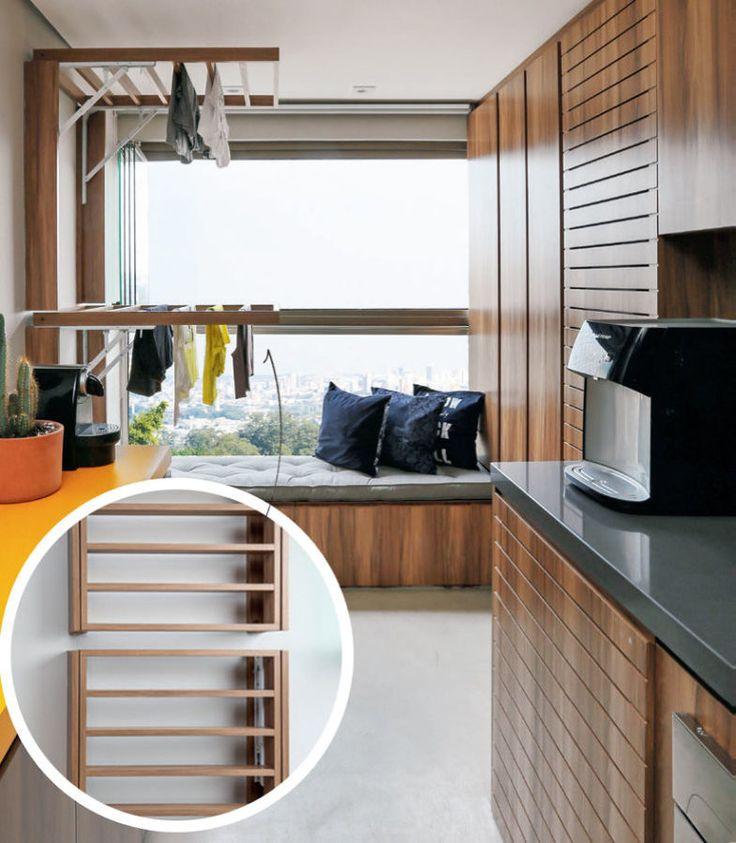 25 melhores ideias sobre varal para apartamento no for Cocina apartamento pequeno