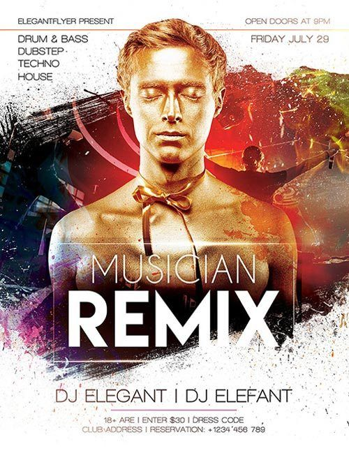 Electro DJ Remix Party Free PSD Flyer Template