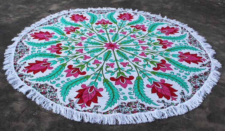 Firozi Color Leaf Tassel Round Beach Towel
