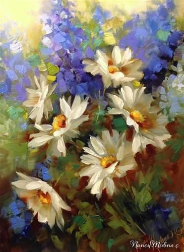 """Daily Paintworks - """"Daisy Dance with Delphiniums"""" by Nancy Medina - Media: Oil on archival panel - Size: 16x12 in"""