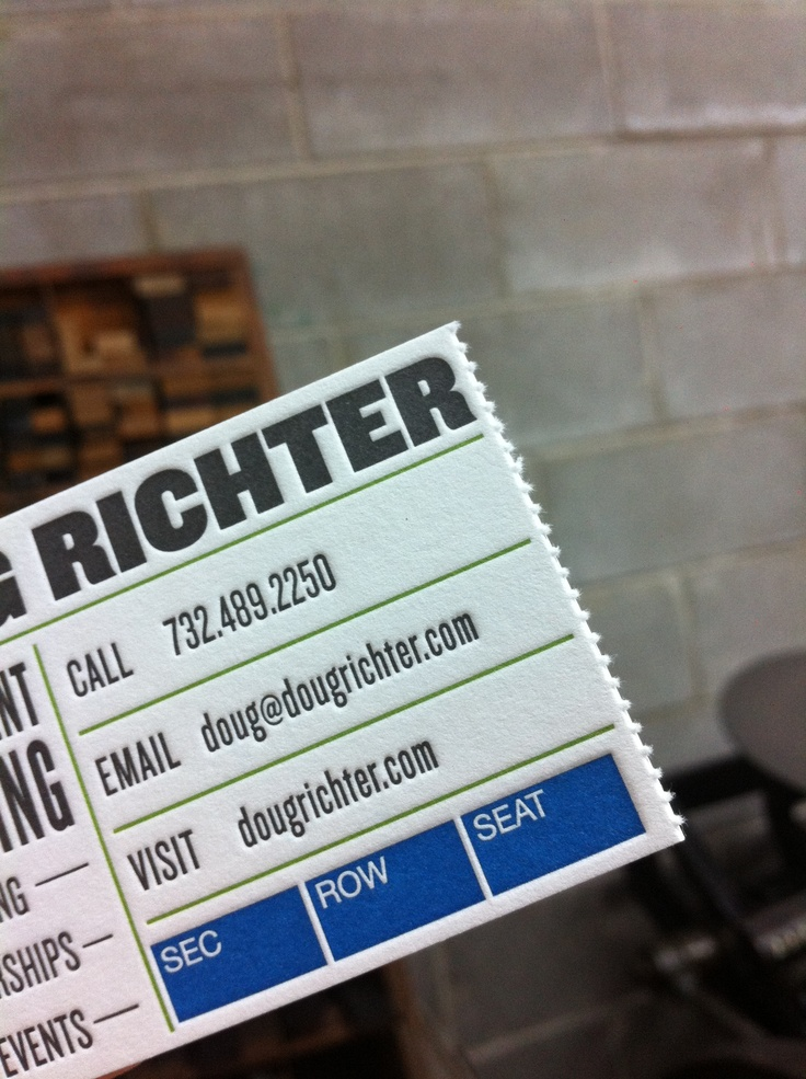 the perforated edge makes this business card look even more like the concert ticket it was inspired by.