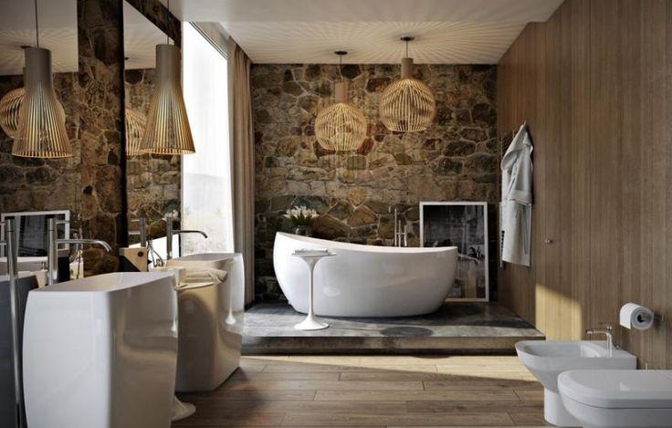 revêtement mural salle de bain en pierre naturelle et panneaux en bois