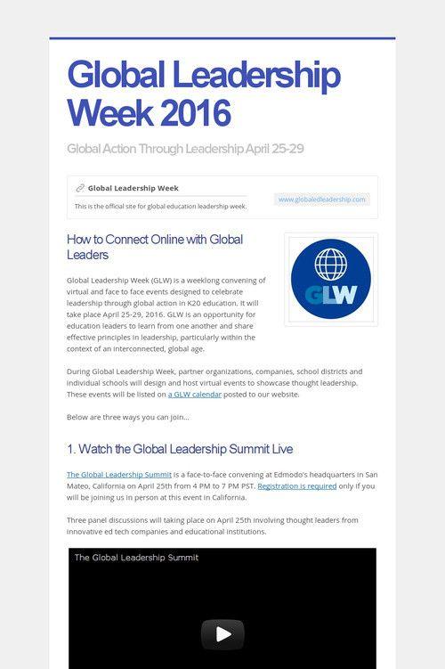 Global Leadership Week 2016
