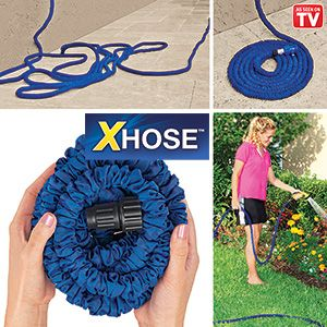Product # HC5799 - Automatically expands and contracts! No more struggling with heavy, tangled hoses - super-strong, yet lightweight flexible material expands up to 3 times its length for full, easy flow, then reverts back to its compact size when water is turned off! Won't kink! Great for washing cars, hosing walkways or patios, watering gardens. Length is fully-expanded.  $49.98