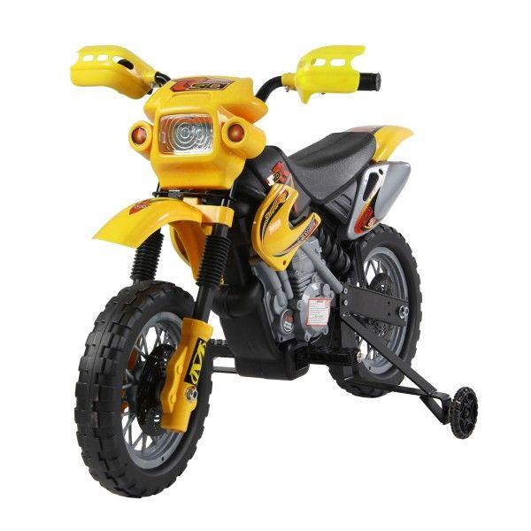 ¿Tus hijos quieren una moto? ¡Cumple sus deseos! Esta moto infantil es una réplica de las motos reales para que los niños experimenten la sensación de conducir. Es de color amarillo, hace ruido de motor y tiene luz. También cuenta con ruedas de apoyo para empezar a aprender.  Puedes comprarlo online en https://www.aosom.es/juguetes-ocio/moto-electrica-infantil-bateria-recargable-ni-o-3-a-os-cargador-2-ruedas-2-5km-h.html con envíos gratis a España y Portugal en 24h/48h.