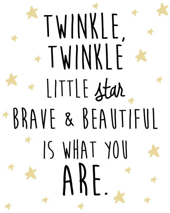 A Quote For A Beautiful Girl: Nursery Star And Moon Digital Print- Twinkle Twinkle