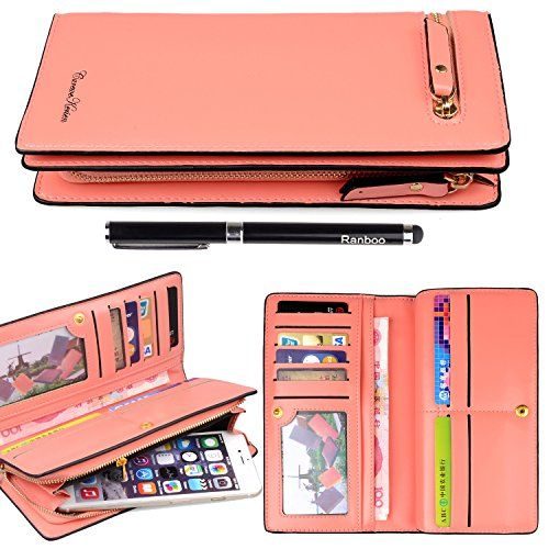 Ranboo premium leather wallet purse with zipper woman cell phone holder wallet case for iphone 6s 6 plus 5s Samsung Galaxy S6 S5 Note 5 4 3 LG Sony Xperia Z2 Z3 ,HTC ONE M8 + 2 in 1 Stylus pen (Pink)