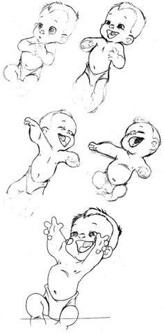 Glen Keane's drawings of baby Tarzan.