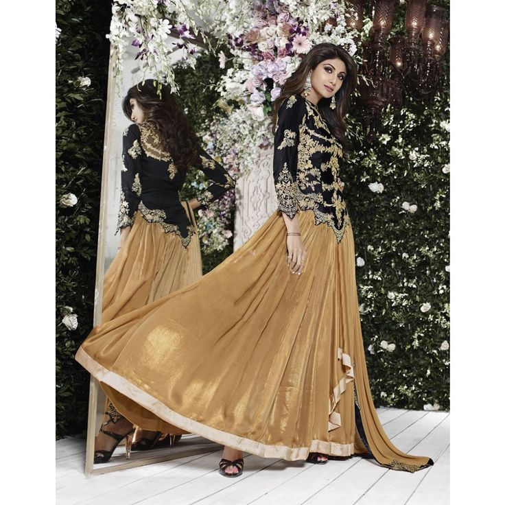 Shilpa Shetty Black and Brown Georgette #Anarkali Suits- $96.21