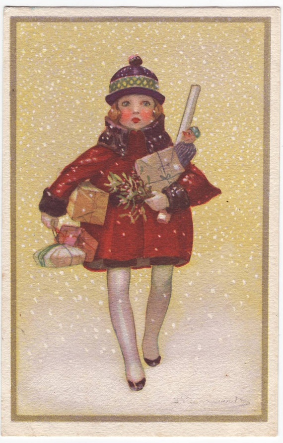... deco christmas fashion postcard from Italy, designed by Sergio Bompard