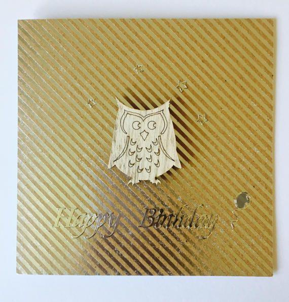 Happy Birthday Owl Card Handmade Card by CreationsbyLindsay17