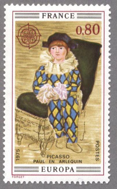 timbres de france/timbre france 1975 - 1840 - Paul en Arlequin, tableau de Pablo Picasso - EUROPA 1975.JPG