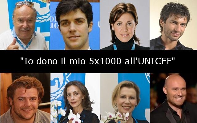Ringraziamo Lino Banfi, Roberto Bolle, Deborah Compagnoni, Kledi Kadiu, Andrea Lo Cicero, Maria Rosaria Omaggio, Bianca Pitzorno, Daniela Poggi e Rudy Zerbi che hanno scelto l'UNICEF anche per destinare il loro 5x1000.