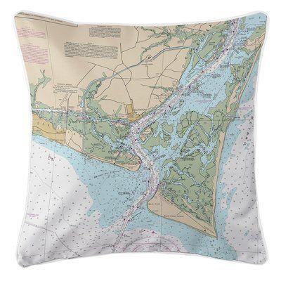 Island Girl Home Nautical Chart Oak Island, Southport, Bald Head Island, NC Throw Pillow