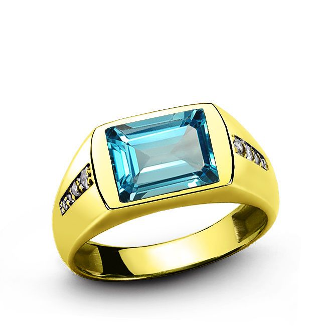MENS SOLID 18K GOLD RING Topaz with Natural Diamonds Fine Classic Ring for Man #Unbranded #SolitairewithAccents