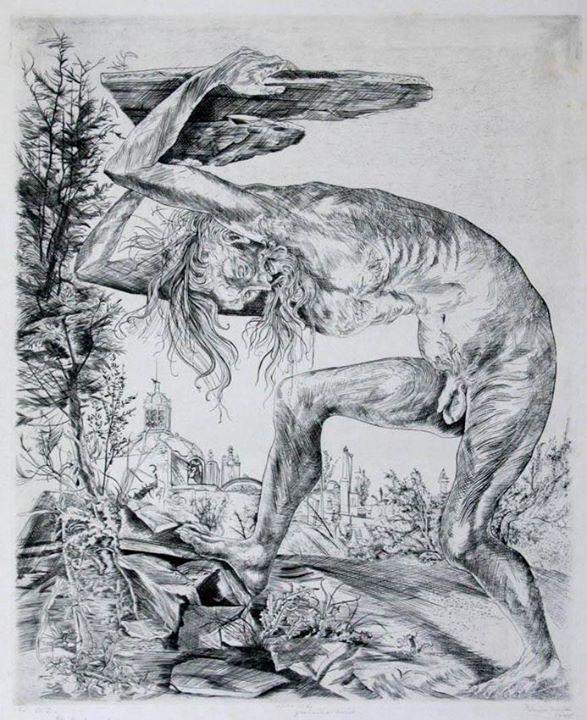 Colección Blaisten Fondo Díaz de León Federico Cantú (1907-1989)  El Moisés, prueba íntima ,  Grabado al buril 48.1x35.4 cm