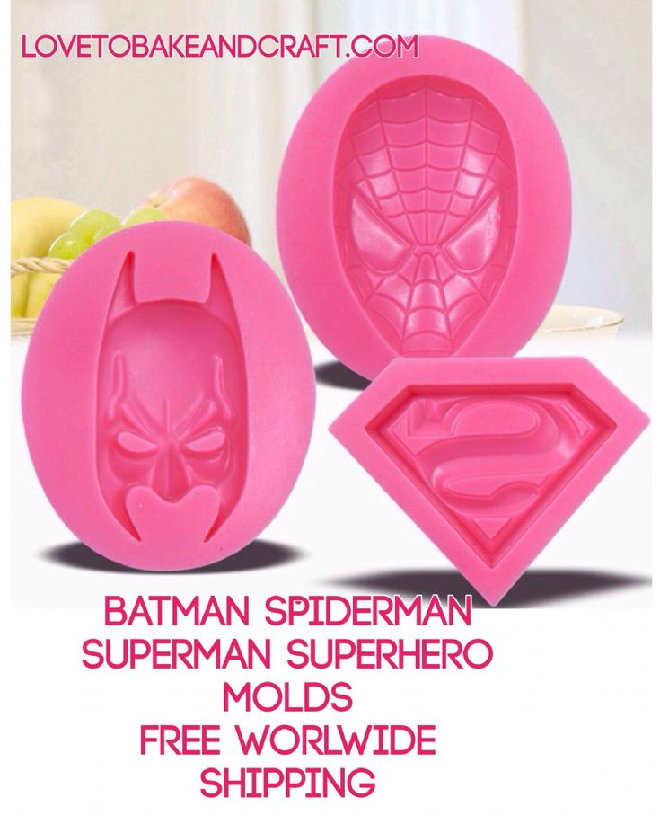 BATMAN MOULD SUPERMAN SPIDERMAN SUPERHEROES MOLDS A great set of food grade silicone molds FDA EU CIQ CERTIFIED Set of 3 Superheroes molds Perfect
