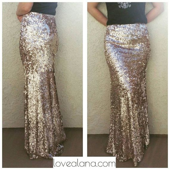 Champagne Maxi - Gorgeous high quality sequins- Long sequined skirt (s,m,l,xl) Handmade in LA!