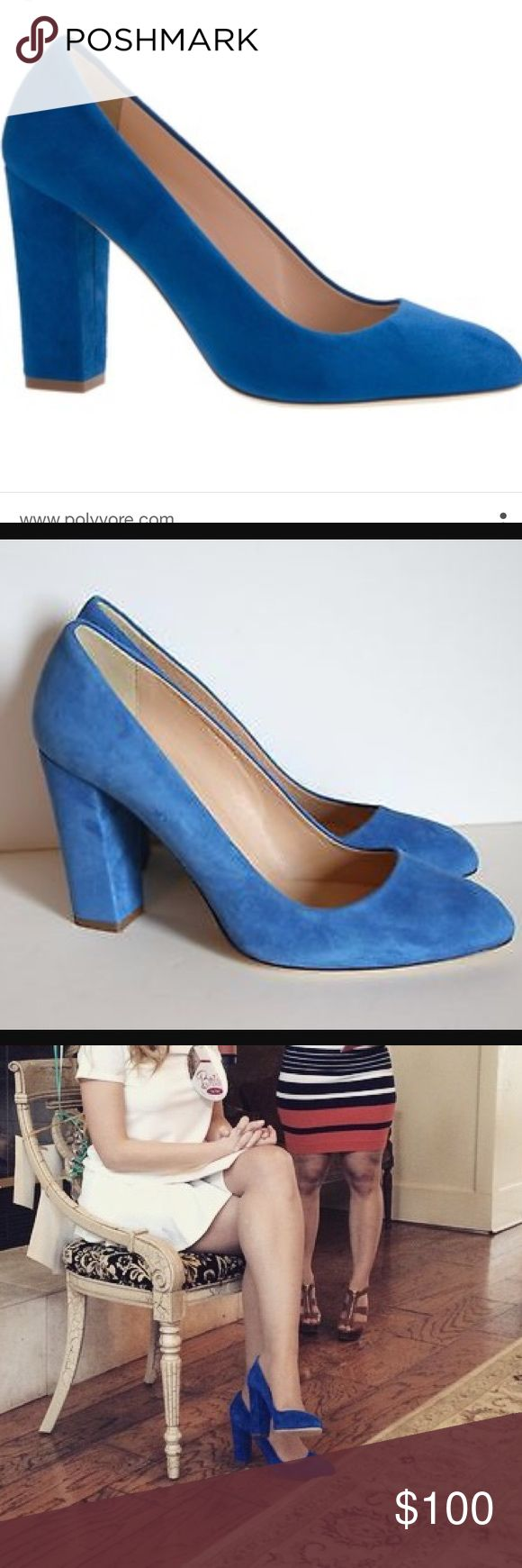 Jcrew Stella blue suede pump Jcrew Stella blue suede pump only worn once with original box gorgeous and comfortable blue suede pump with nice thick heel practically new J. Crew Shoes Heels