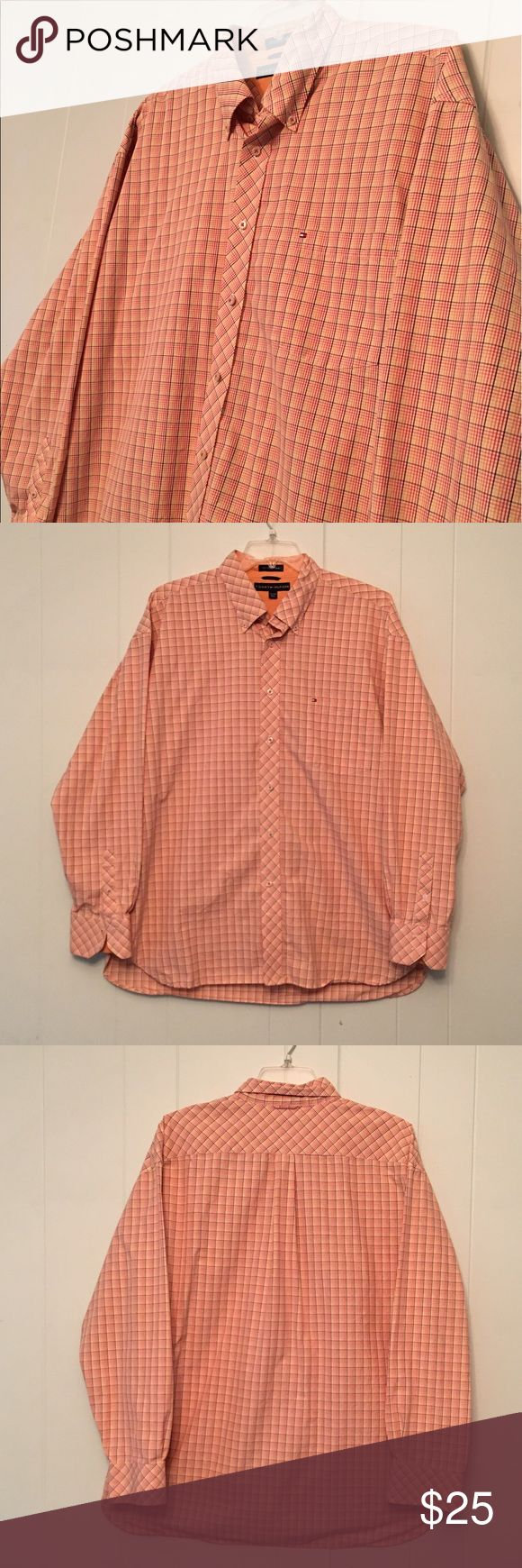 Tommy Hilfiger Orange Button Down Men's Shirt Tommy Hilfiger Button Down Shirt, Great Condition. Tommy Hilfiger Shirts Casual Button Down Shirts